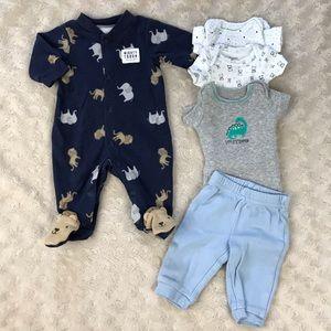 Preemie Baby Boy Bundle Elephant Sleeper Bodysuits